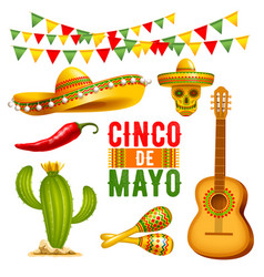 cinco de mayo design elements set vector image