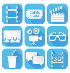cinema icons set blue square signs with movie vector image
