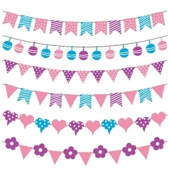 Colorful bunting flags and garlands vector image