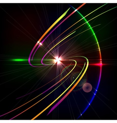Colorful glowing curves in space design technology vector