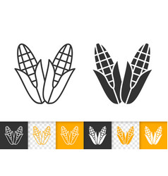 corn simple cob food black line maize icon vector image