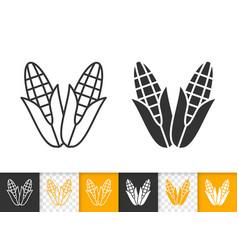 Corn simple cob food black line maize icon vector