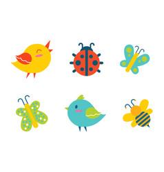Creatures collection birds vector