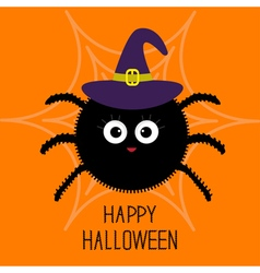 Cute cartoon fluffy spider on the web Witch hat vector