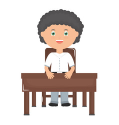 cute little student boy seated in schooldesk vector image
