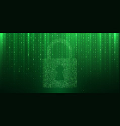 cyber security data privacy binary matrix lock vector image