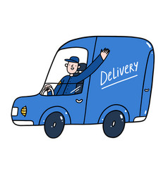 delivery guy in a blue service car vector image