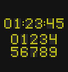 digital led clock number set vector image