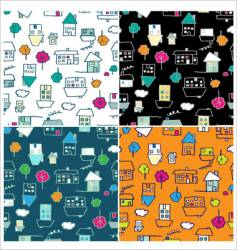 Doodle houses seamless vector