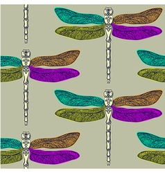 Dragonfly seamless pattern vector image
