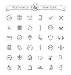 E-commerce Shop linear icons set vector image