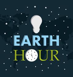 earth hour light bulb clock starry dark background vector image