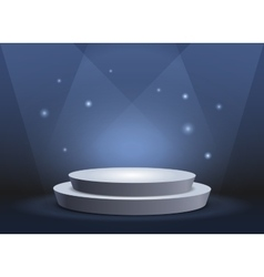 Empty template of white round podium on blue vector image