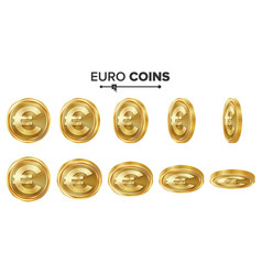 euro 3d gold coins set realistic vector image