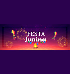 festa junina celebration fireworks banner vector image