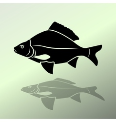 Fish icon Food symbol Cyprinidae family Fresh vector