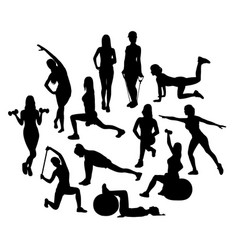 fitness and exercises activity silhouettes vector image
