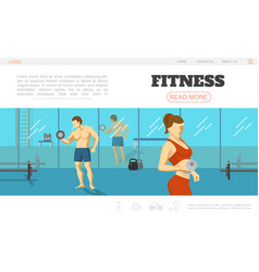 flat sport and fitness webpage template vector image