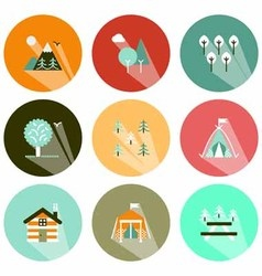 forests and camping icons shadow vector image