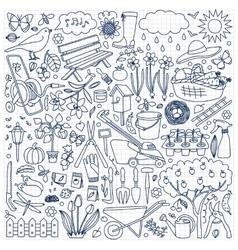 Garden doodle set vector image