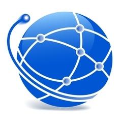 Globe blue icon - vector image