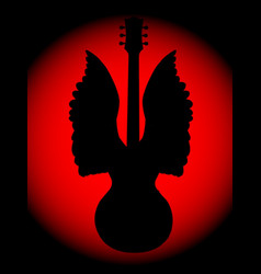 Guitar angel silhouette vector
