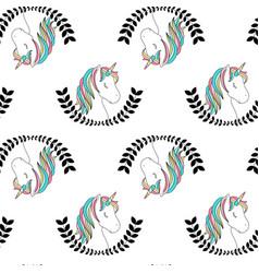 hand drawing unicorn pattern vector image
