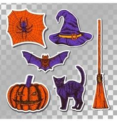 hand drawn halloween stickers vector image