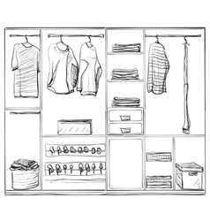 Hand drawn wardrobe sketch Clothes and foot vector image