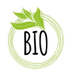 handwritten lettering sign bio organic for vector image