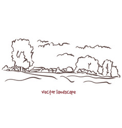 handwritten sketch rural landscape vector image