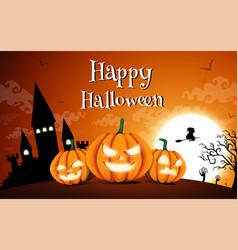 happy halloween night background with dark castle vector image