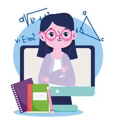 happy teachers day teacher online lesson book vector image