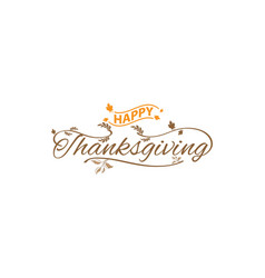 happy thanksgiving hand lettering text typography vector image