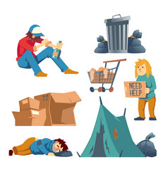 Homeless people cartoon characters set vector