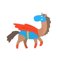 Horse Smiling Animal Dressed As Superhero With A vector
