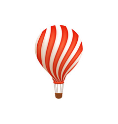 Hot air balloon ride in amusement park flat icon vector