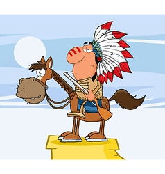 Indian Chief With Gun On Horse Over Rocks vector