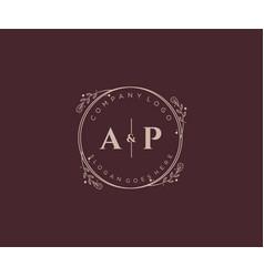 Initial ap letters decorative luxury wedding logo vector