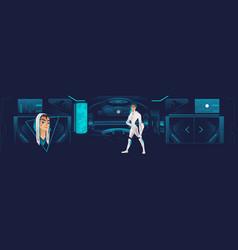 Interior spaceship with a futuristic vector