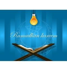 Islam read quran bulb koran ramadan kareem mubarak vector
