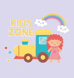 Kids zone rubber train and pink little doll toys vector