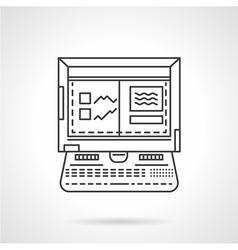 Laptop for car diagnostic linear icon vector