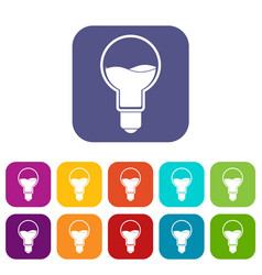 light bulb with blue water inside icons set flat vector image