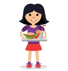 Little girl with a tray of fast food in his hands vector