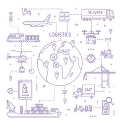 Logistics concept with freight vehicle transport vector
