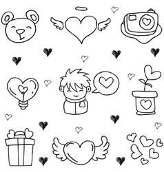 Love doodle theme vector