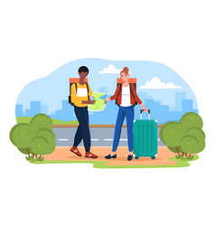 male and female tourists are looking for a place vector image
