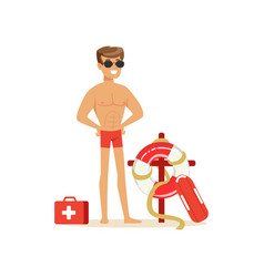 Male lifeguard in red shorts with equipment on the vector