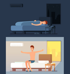 man peacefully sleeping and dreaming in comfy bed vector image
